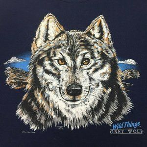 Vintage Jerzees Grey Wolf Wild Things Crew Sweater